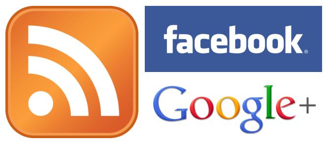 Loga RSS, Facebook, Google+